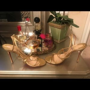 Used Gold Christian Louboutin Sandals